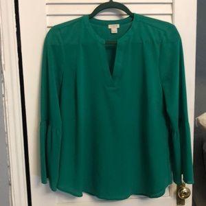 Green bell sleeve blouse